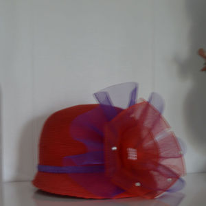Red Hat society Hat with large Mesh Flower
